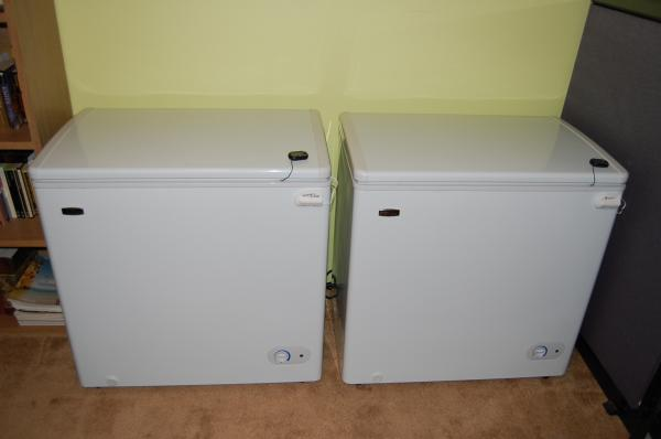 Two small chest freezers